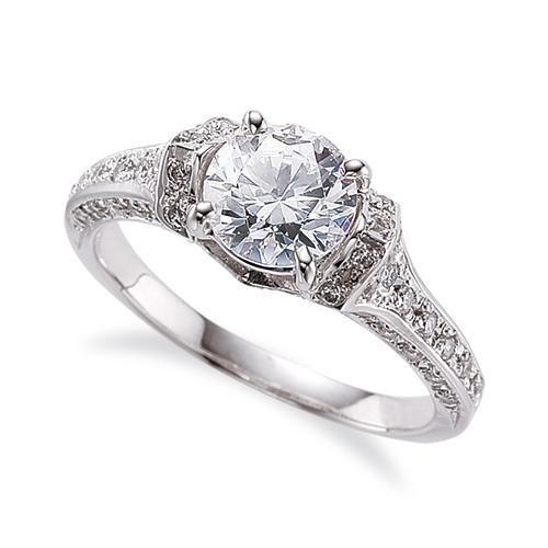 指輪 PT900 プラチナ 天然石 三面メレの豪華なサイドストーンリング 主石の直径約4.4mm 四本爪留め|900pt 貴金属 ジュエリー レディース メンズ
