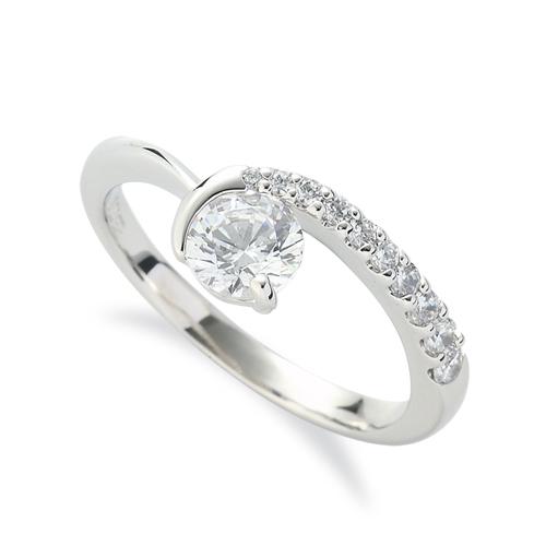 指輪 PT900 プラチナ 天然石 メレがラインになったサイドストーンリング 主石の直径約5.2mm V字 レール留め|900pt 貴金属 ジュエリー レディース メンズ