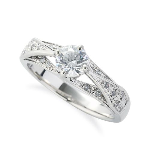指輪 PT900 プラチナ 天然石 サイドパヴェリング 主石の直径約5.2mm 割り腕 四本爪留め|900pt 貴金属 ジュエリー レディース メンズ