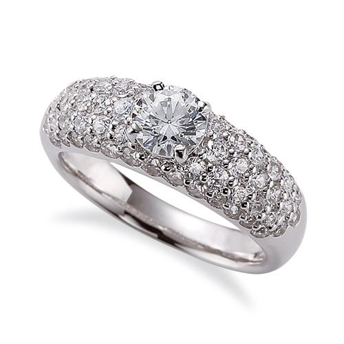 指輪 PT900 プラチナ 天然石 サイドパヴェリング 主石の直径約5.2mm 四本爪留め|900pt 貴金属 ジュエリー レディース メンズ