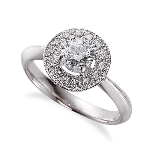 指輪 PT900 プラチナ 天然石 ミル打ちラインの取り巻きリング 主石の直径約5.2mm 四本爪留め|900pt 貴金属 ジュエリー レディース メンズ