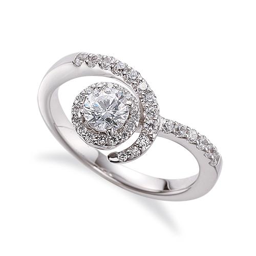 指輪 PT900 プラチナ 天然石 メレがラインになった取り巻きリング 主石の直径約5.2mm V字 四本爪留め|900pt 貴金属 ジュエリー レディース メンズ