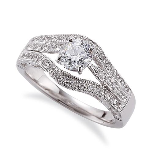 指輪 PT900 プラチナ 天然石 メレ周りミル打ちのサイド三文字リング 主石の直径約5.2mm 割り腕 しぼり腕 四本爪留め|900pt 貴金属 ジュエリー レディース メンズ