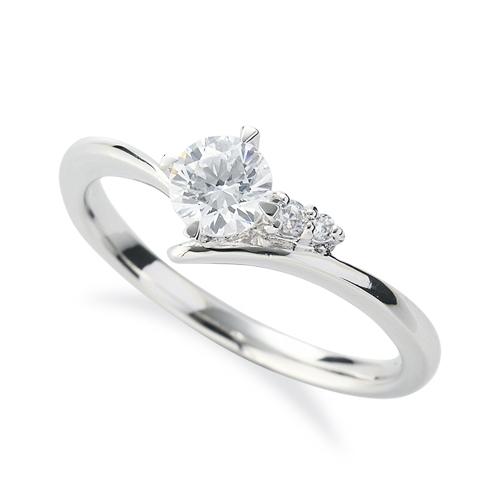 指輪 PT900 プラチナ 天然石 サイドストーンリング 主石の直径約4.4mm V字 四本爪留め|900pt 貴金属 ジュエリー レディース メンズ