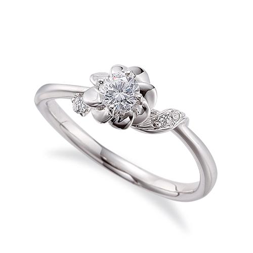 指輪 PT900 プラチナ 天然石 花モチーフのサイドストーンリング 主石の直径約3.8mm ウェーブ 四本爪留め|900pt 貴金属 ジュエリー レディース メンズ