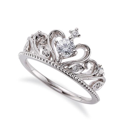 指輪 PT900 プラチナ 天然石 ティアラモチーフのサイドストーンリング 主石の直径約3.8mm 四本爪留め|900pt 貴金属 ジュエリー レディース メンズ