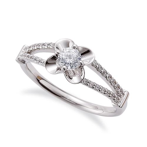 指輪 PT900 プラチナ 天然石 花モチーフのサイドストーンリング 主石の直径約3.8mm 割り腕 四本爪留め 900pt 貴金属 ジュエリー レディース メンズ