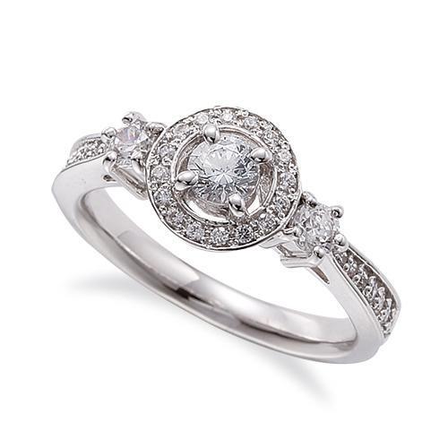 指輪 PT900 プラチナ 天然石 サイドストーンの取り巻きリング 主石の直径約3.8mm 四本爪留め|900pt 貴金属 ジュエリー レディース メンズ