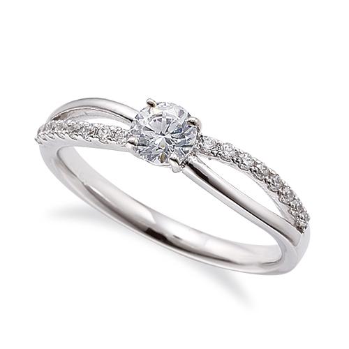 指輪 PT900 プラチナ 天然石 メレがラインになったサイドストーンリング 主石の直径約4.4mm ウェーブ 割り腕 四本爪留め 900pt 貴金属 ジュエリー レディース メンズ