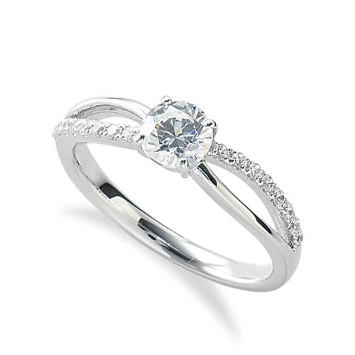 指輪 PT900 プラチナ 天然石 メレがラインになったサイドストーンリング 主石の直径約5.2mm ウェーブ 割り腕 四本爪留め|900pt 貴金属 ジュエリー レディース メンズ
