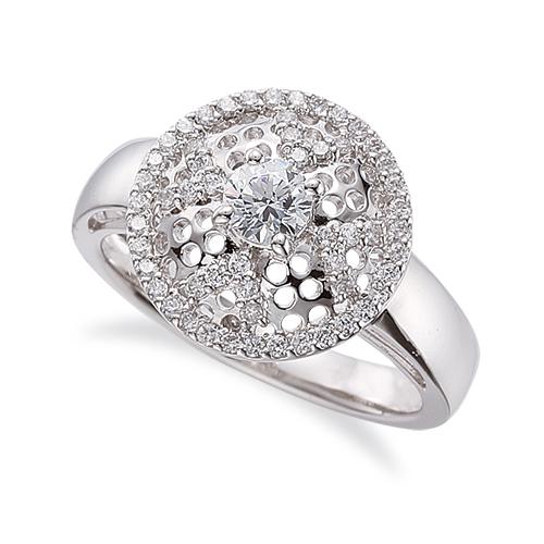 指輪 PT900 プラチナ 天然石 ラウンド型取り巻きリング 主石の直径約4.1mm 四本爪留め|900pt 貴金属 ジュエリー レディース メンズ