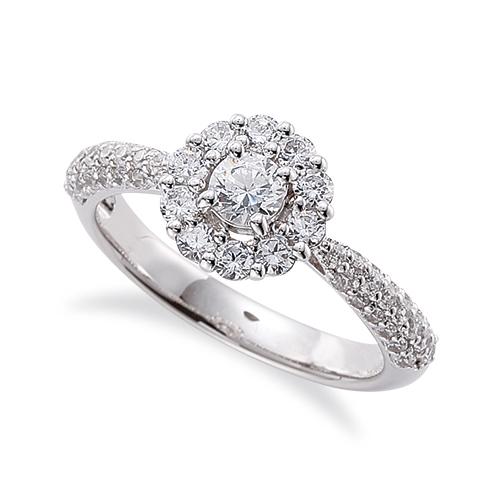 指輪 PT900 プラチナ 天然石 サイドパヴェの取り巻きリング 主石の直径約3.8mm 四本爪留め 900pt 貴金属 ジュエリー レディース メンズ