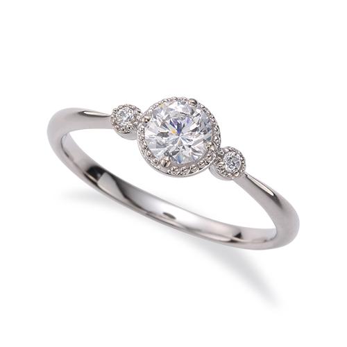 指輪 PT900 プラチナ 天然石 メレ周りミル打ちのサイドストーンリング 主石の直径約4.4mm しぼり腕|900pt 貴金属 ジュエリー レディース メンズ