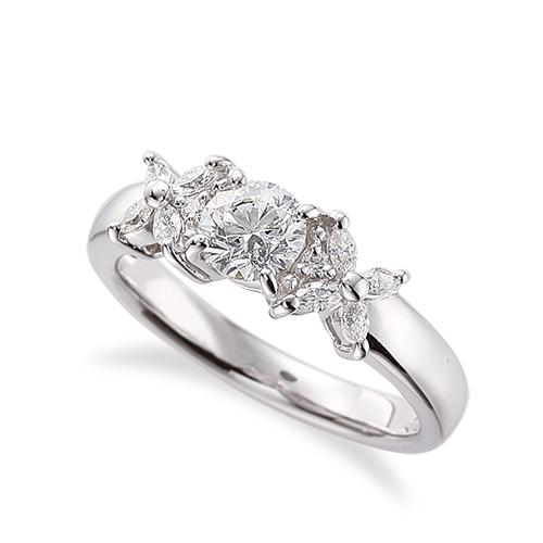 指輪 PT900 プラチナ 天然石 マーキスメレが花モチーフのサイドストーンリング 主石の直径約4.4mm 四本爪留め 900pt 貴金属 ジュエリー レディース メンズ
