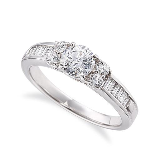 指輪 PT900 プラチナ 天然石 バゲットメレのサイド一文字リング 主石の直径約3.8mm 四本爪留め|900pt 貴金属 ジュエリー レディース メンズ