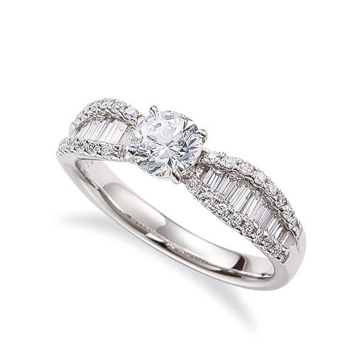 指輪 PT900 プラチナ 天然石 バゲットメレのサイド一文字リング 主石の直径約5.2mm 四本爪留め|900pt 貴金属 ジュエリー レディース メンズ
