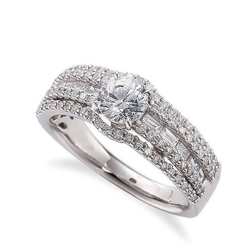 指輪 PT900 プラチナ 天然石 バゲットメレがラインになったサイドストーンリング 主石の直径約5.2mm 四本爪留め|900pt 貴金属 ジュエリー レディース メンズ