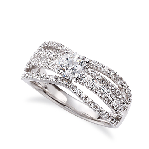 指輪 PT900 プラチナ 天然石 バゲットメレがラインになったサイドストーンリング 主石の直径約5.2mm 割り腕 四本爪留め|900pt 貴金属 ジュエリー レディース メンズ