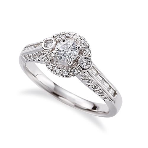 指輪 PT900 プラチナ 天然石 バゲットメレがサイド一文字の取り巻きリング 主石の直径約3.8mm 四本爪留め|900pt 貴金属 ジュエリー レディース メンズ