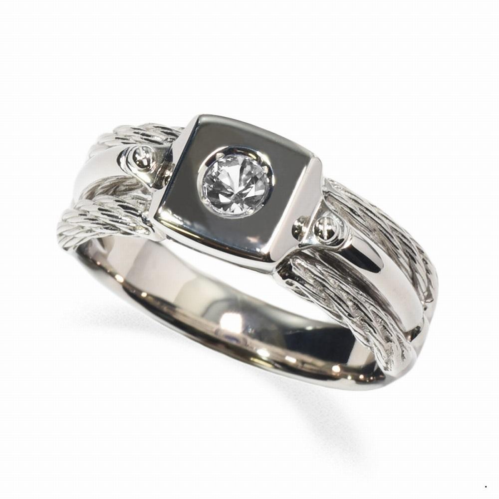 指輪 PT900 プラチナ 天然石 ワイヤーモチーフの一粒リング 主石の直径約3.8mm ソリティア|900pt 貴金属 ジュエリー レディース メンズ