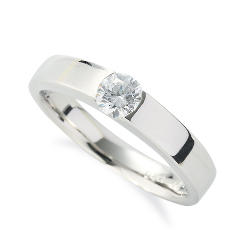 指輪 PT900 天然石 一粒リング 主石の直径約4.4mm ソリティア 平打ち レール留め|プラチナ 貴金属 ジュエリー レディース メンズ