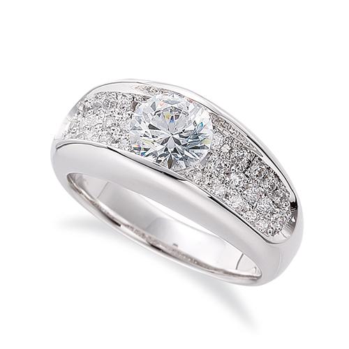 指輪 PT900 プラチナ 天然石 サイドパヴェリング 主石の直径約3.8mm レール留め|900pt 貴金属 ジュエリー レディース メンズ