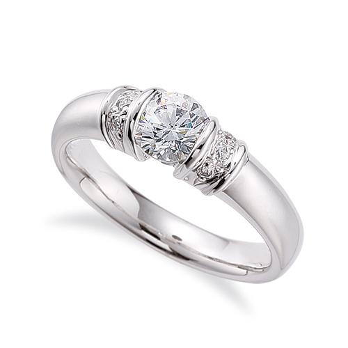 指輪 PT900 プラチナ 天然石 サイドストーンリング 主石の直径約4.4mm レール留め|900pt 貴金属 ジュエリー レディース メンズ