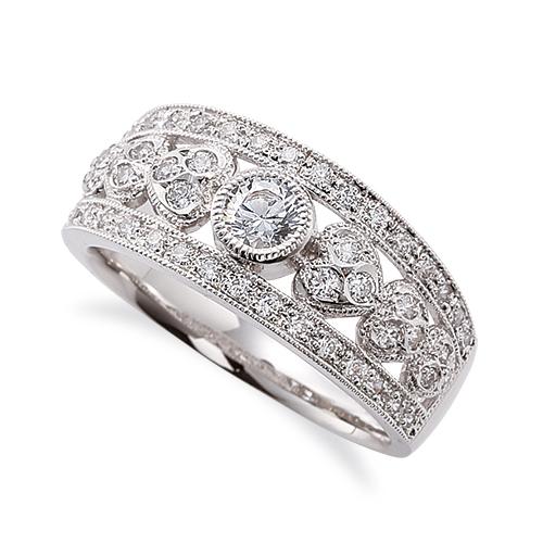 指輪 PT900 プラチナ 天然石 ミル打ちと透かしのサイドストーンリング 主石の直径約3.8mm 伏せ込み|900pt 貴金属 ジュエリー レディース メンズ