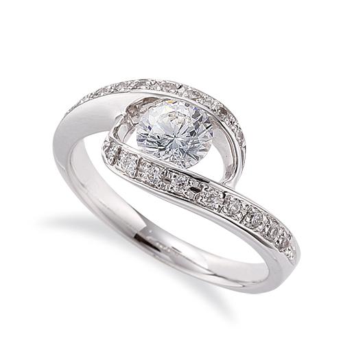 指輪 PT900 プラチナ 天然石 メレがラインになったサイドストーンリング 主石の直径約5.2mm ウェーブ レール留め|900pt 貴金属 ジュエリー レディース メンズ