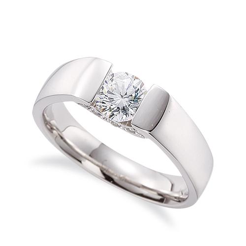 指輪 PT900 プラチナ 天然石 側面にメレ付きの一粒リング 主石の直径約3.8mm ソリティア 平打ち レール留め|900pt 貴金属 ジュエリー レディース メンズ