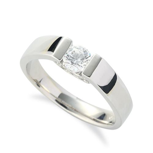 指輪 PT900 プラチナ 天然石 側面にメレ付きの一粒リング 主石の直径約4.4mm ソリティア 平打ち レール留め|900pt 貴金属 ジュエリー レディース メンズ