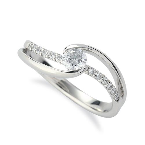 指輪 PT900 プラチナ 天然石 メレがラインになったサイドストーンリング 主石の直径約3.8mm ウェーブ 割り腕 レール留め|900pt 貴金属 ジュエリー レディース メンズ