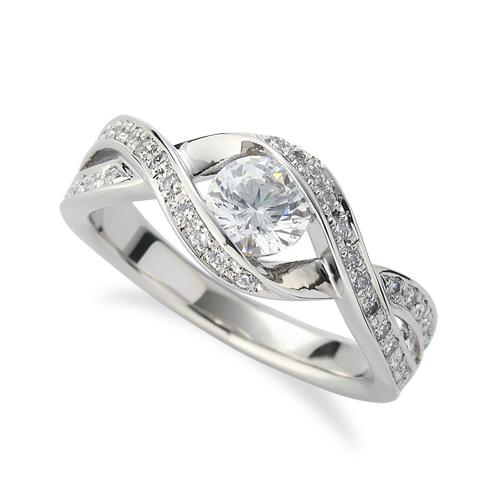 指輪 PT900 プラチナ 天然石 メレがラインになったサイドストーンリング 主石の直径約5.2mm ウェーブ 割り腕|900pt 貴金属 ジュエリー レディース メンズ