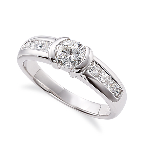指輪 PT900 プラチナ 天然石 バゲットメレのサイド一文字リング 主石の直径約5.2mm|900pt 貴金属 ジュエリー レディース メンズ