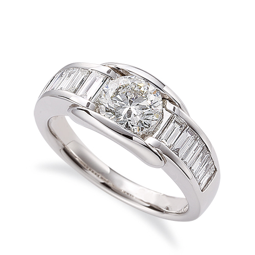 指輪 PT900 プラチナ 天然石 バゲットメレのサイド一文字リング 主石の直径約4.4mm レール留め|900pt 貴金属 ジュエリー レディース メンズ