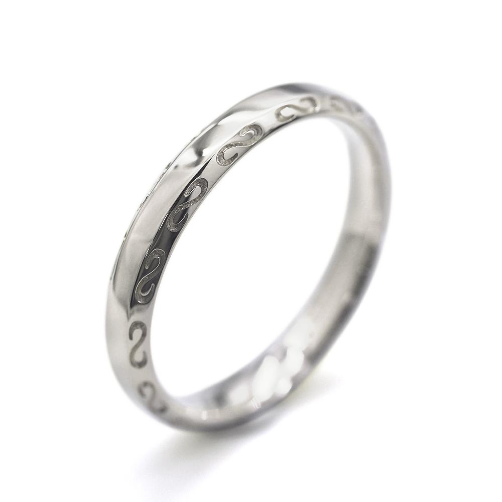 指輪 PT900 プラチナ S字模様が刻まれたサイドカットリング 幅3.6mm|900pt 貴金属 ジュエリー レディース メンズ