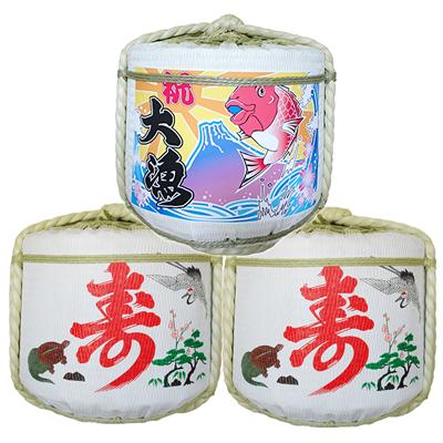 飾り樽二段重ね【大漁・鶴亀寿】(2斗樽)