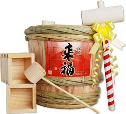 来福 ミニ樽酒セット 2升樽(3.6L)鏡開きできます。【楽ギフ_のし】【スーパーセール】