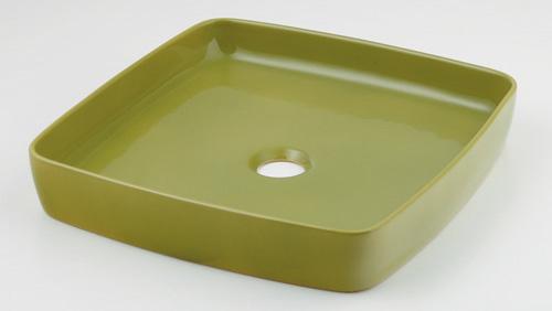 カクダイ 【493-096-GR】 KAKUDAI 角型手洗器//ピスタチオ ★