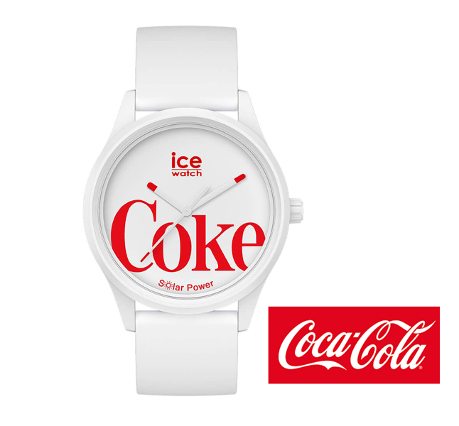 アイスウォッチ正規販売店 アイスウォッチ ICE WATCH コカ コーラ コラボレーション ソーラー 送料無料 40mm ホワイト アイコニック 腕時計 正規品 世界限定1200本モデル お見舞い 018513 商店