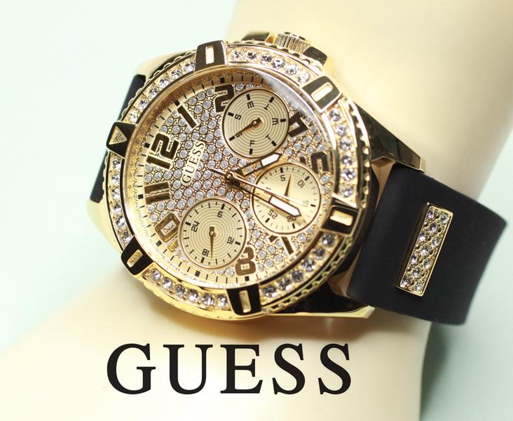 タイムセール 正規品 送料無料 GUESS ゲス レディース 期間限定で特別価格 FRONTIER 金色のギラギラ腕時計 W1160L1 LADY