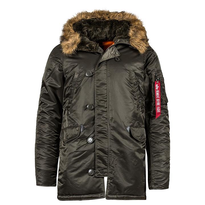 アルファインダストリー ALPHA INDUSTRIES N-3B スリムフィットReplica Grey/Orange メンズ ジャケット