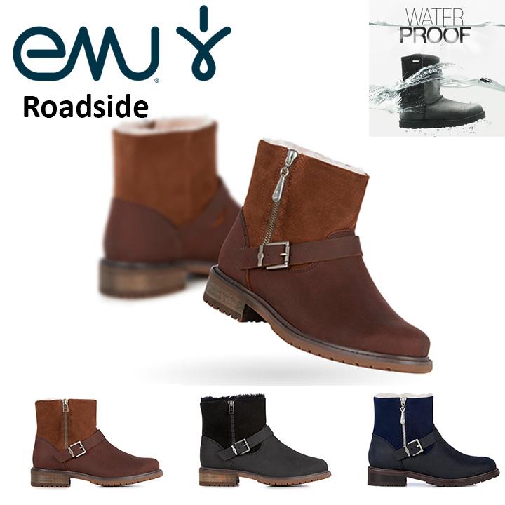 エミュー emu ショートブーツ Roadside ロードサイド 異素材コンビ 完全 防水 W11296