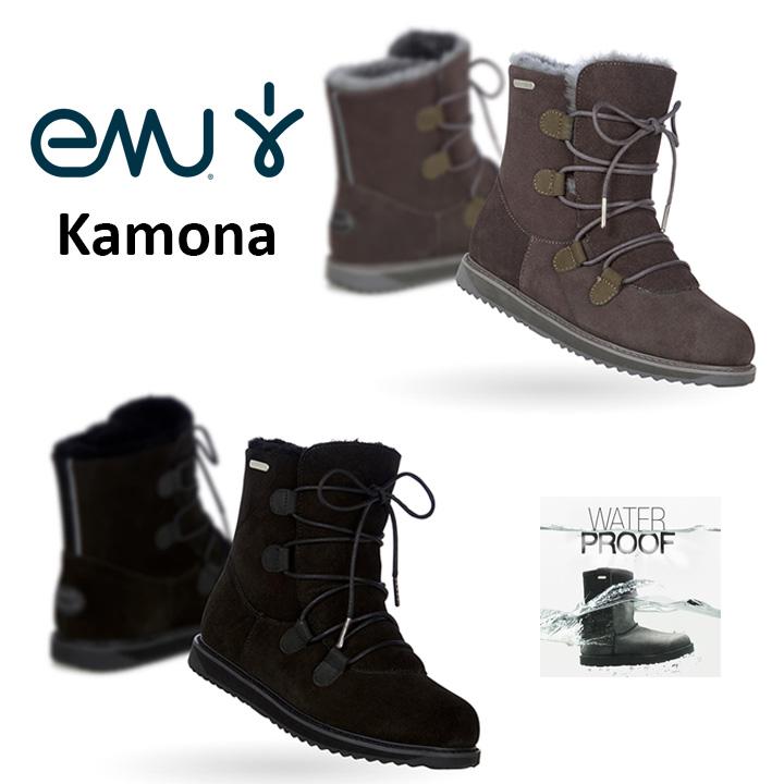 エミュー emu ムートン ブーツ 完全 防水 Kamona カモナ 編み上げブーツ W11551