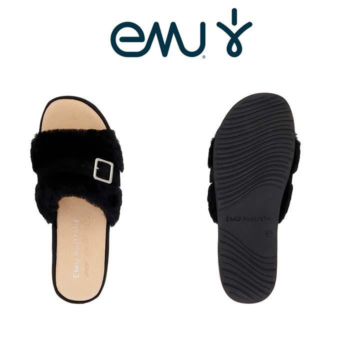 エミュー EMU Australia Warden Stinger ムートン レディースサンダル サンダル ブラック 歩きやすい 可愛い w11914