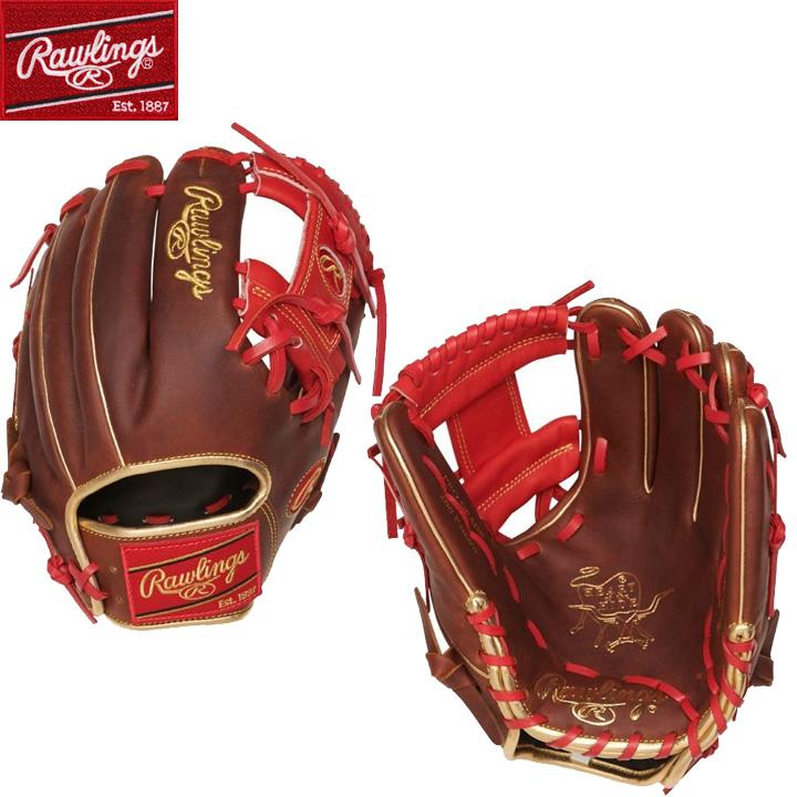 【USA物】Rawlings ローリングス 野球 グラブ MLB Iウェブ HOH (Heart of the Hide) 硬式 野球 軟式 内野手用 グローブ 赤 レッド