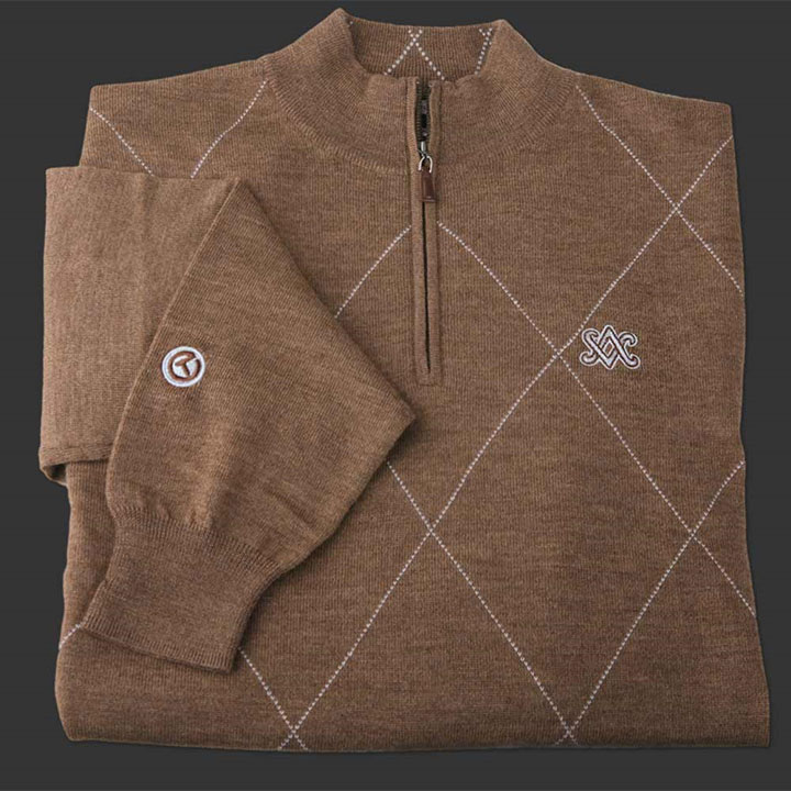 ピーターミラー スコッティキャメロン 1/4ジップ セーター Scotty Cameron Peter Millar Qtr. Zip Raker - Merino Wool - SC Diamond - Whisky