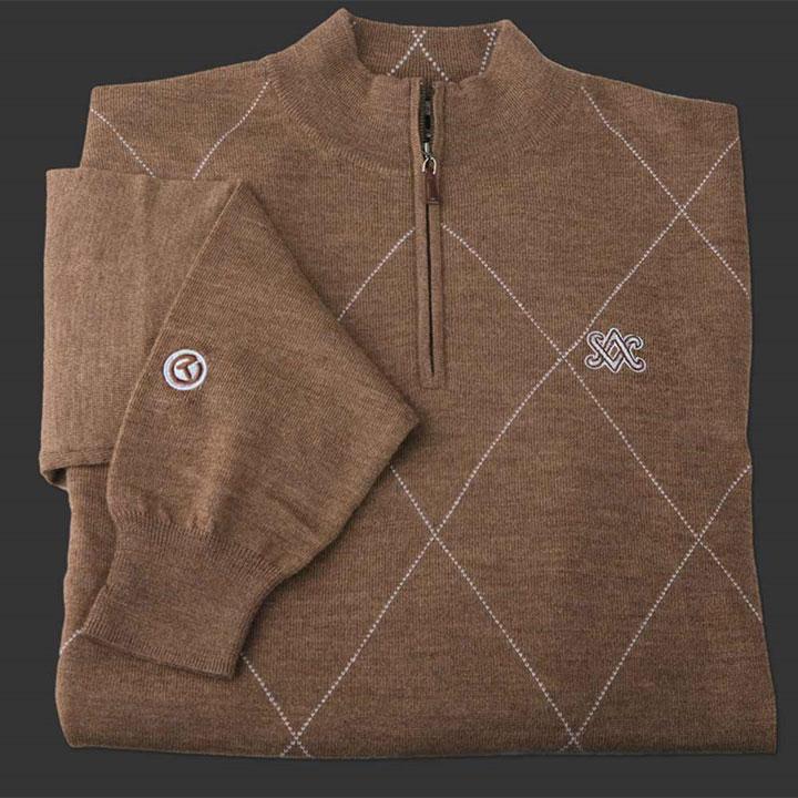 ピーターミラー スコッティキャメロン 1/4ジップ セーター Scotty Cameron Peter Millar Qtr. Zip Raker - Merino Wool - SC Diamond - Whisky