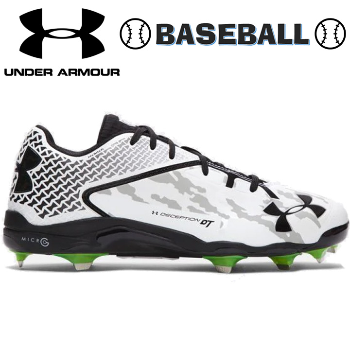 UNDER ARMOUR アンダーアーマー Men's UA Deception Low DiamondTips Baseball Cleats メンズ 靴・シューズ ベースボール 野球 白黒 White/Black