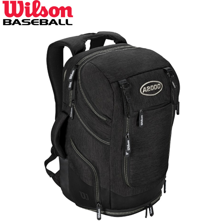送料無料 【USA物】ウィルソン 野球 バックパック A2000 ブラック 収納豊富 バット2本収納 部活 通学 通勤 リュック バック